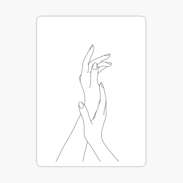 Hands line drawing - Dia Sticker