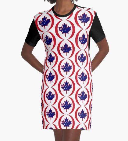 Australian Canadian Multinational Patriot Flag Series Graphic T-Shirt Dress
