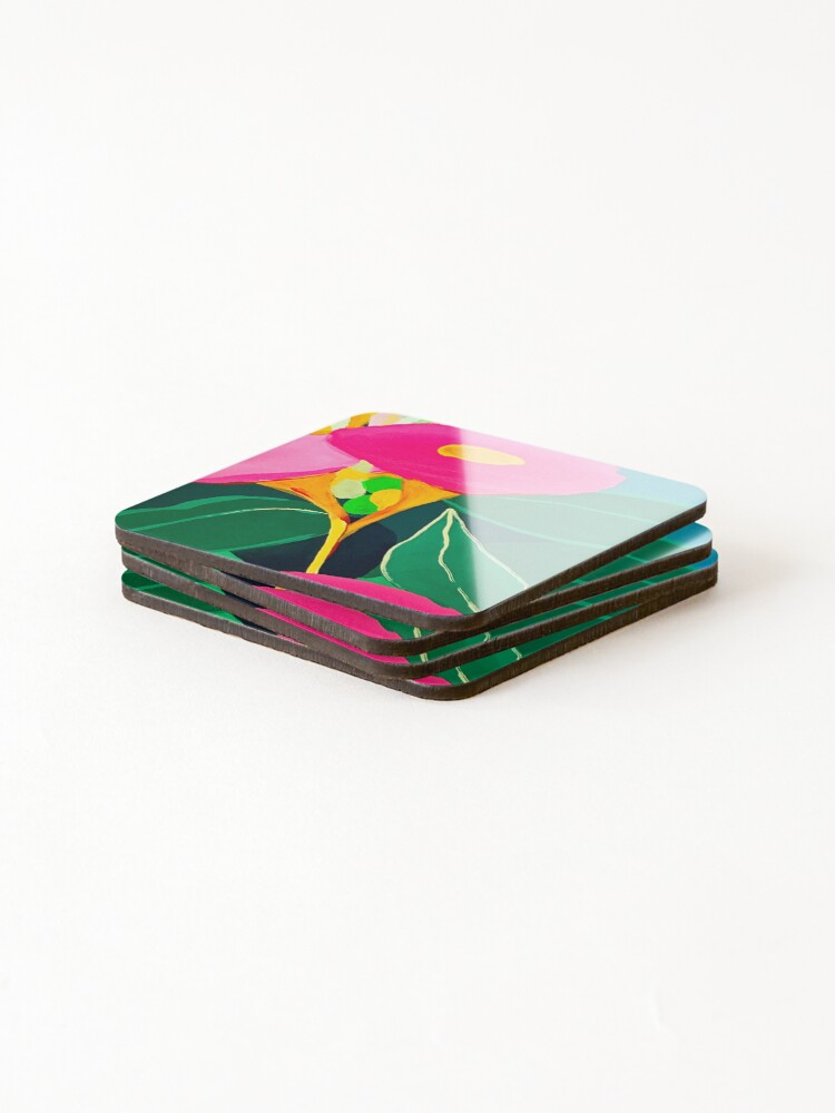 Alternate view of Pink Gum Flowers by Leah Gay Coasters (Set of 4)