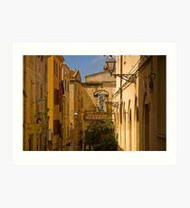 An alley in Alghero Sardinia. Art Print