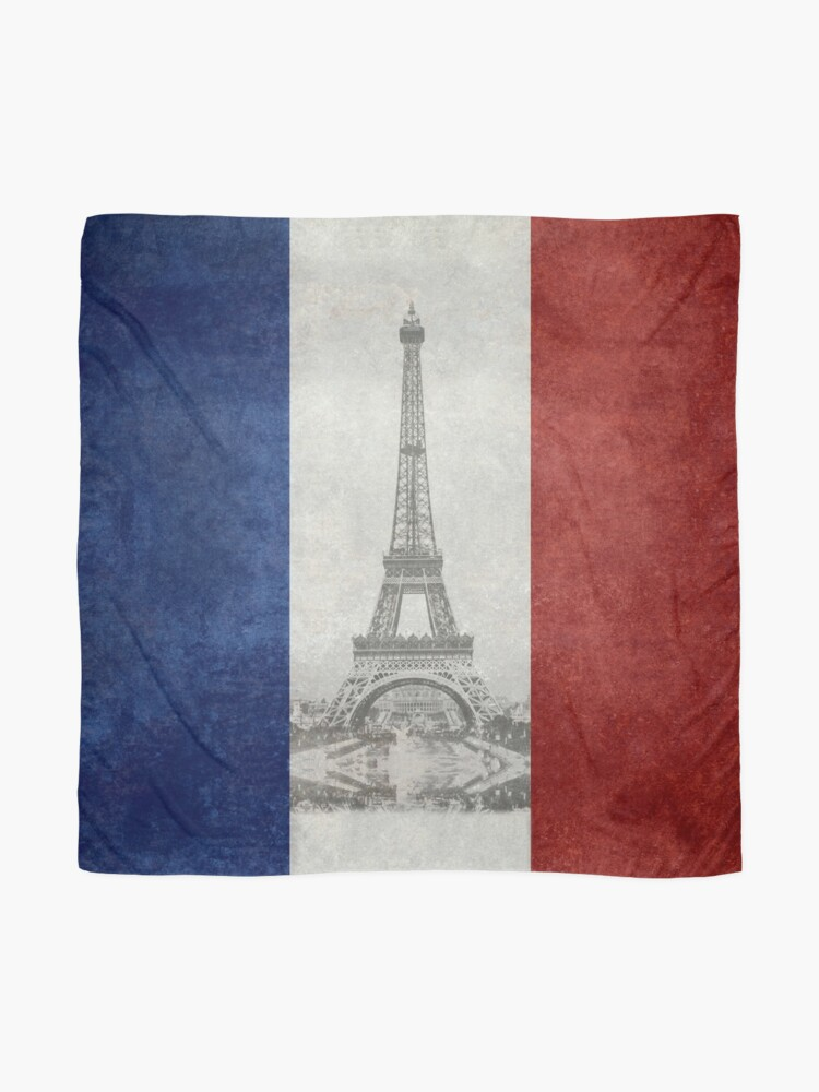 Alternate view of Vintage national flag of France with Eiffel Tower insert Scarf