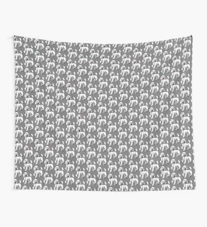 Poodle - White Wall Tapestry