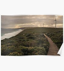 Setting sun at the Wind farm Poster