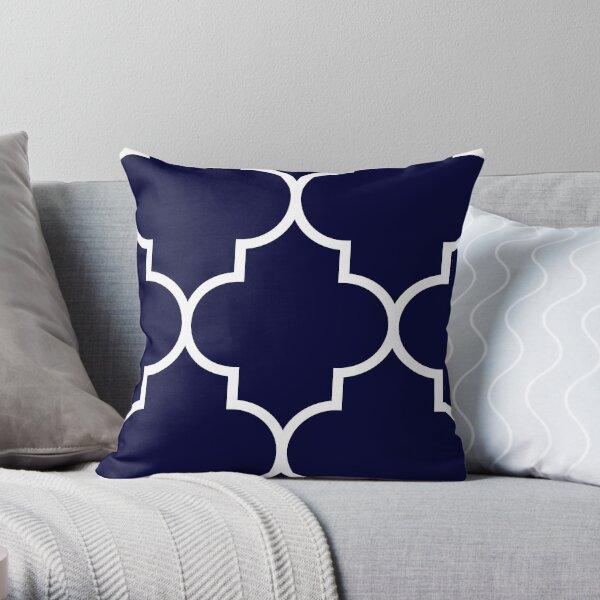 Quatrefoil Large Navy Blue Throw Pillow