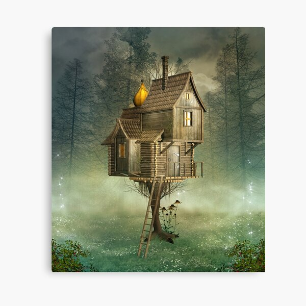 Witch house in a green foggy forest Canvas Print