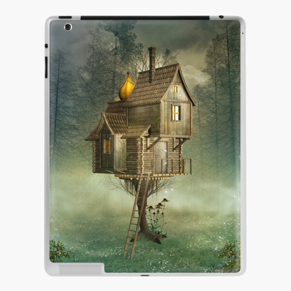 Witch house in a green foggy forest iPad Skin