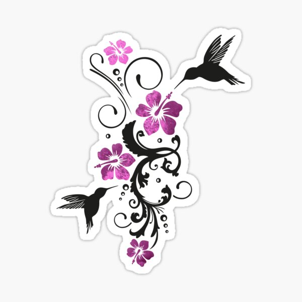 Hummingbirds with hibiscus, floral Sticker