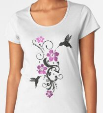 Hummingbirds with hibiscus, floral Premium Scoop T-Shirt