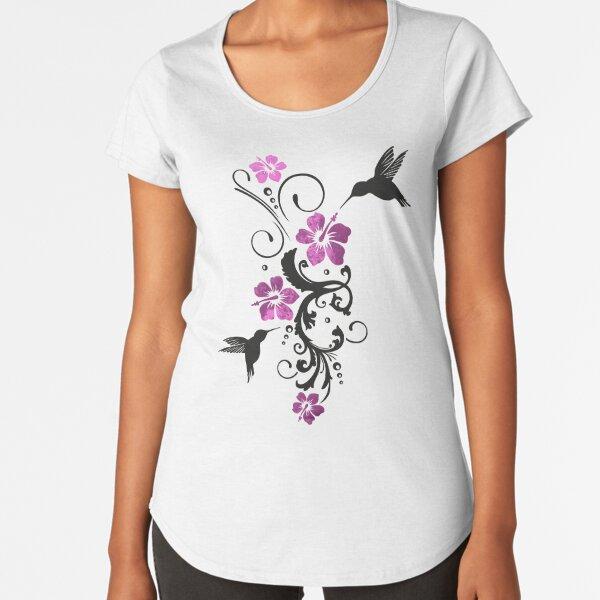 Kolibris mit Hibiskus und floralem Ornament Premium Rundhals-Shirt