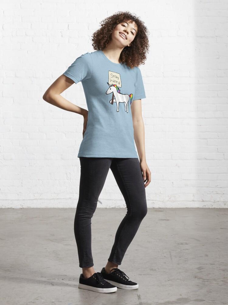 Alternate view of Stay Weird, Unicorn Essential T-Shirt