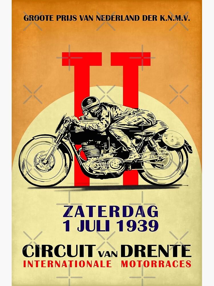 Circuit Van Drente Vintage Motorcycle Racing Poster by rogue-design