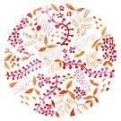 Watercolour Flower Mandala Pink and Bronze by Woodland Doodles