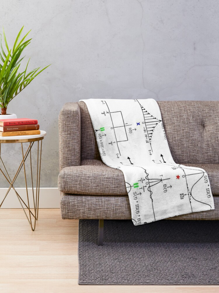 Alternate view of #Discrete #Fourier #Transform. #Diagram, graph, formula, chalk out, illustration, physics, graph plot, symbol, guidance, draft, sketch, science, research, scientific experiment Throw Blanket