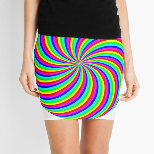 #Rainbow, #abstract, #illustration, #design, art, vortex, psychedelic, pattern, creativity, bright Mini Skirt