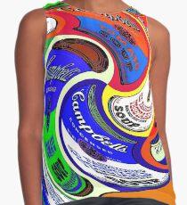 Blusa sin mangas SOPORTE CAMPBELL: Estampado publicitario psicodélico de estilo abstracto de Warhol