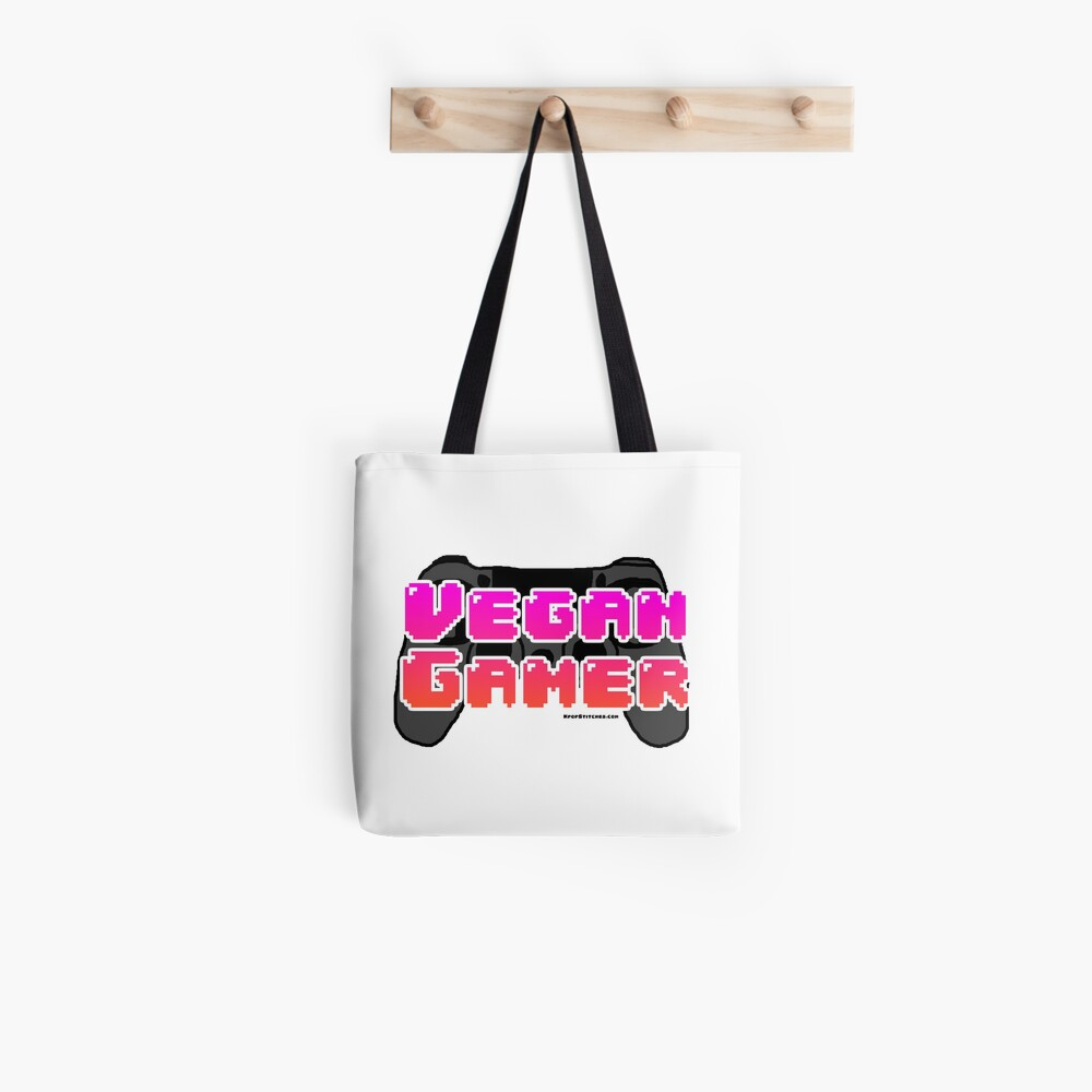 vegan gamer bubble letters pink orange vaporwave retro 80s  Tote Bag
