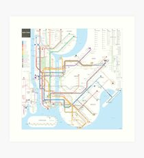 New York City U-Bahn-Karte Kunstdruck