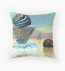 An ice cream on a hot day Throw Pillow