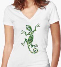 Lizard Tattoo -textured Women's Fitted V-Neck T-Shirt