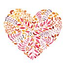Floral Heart in Pink, Gold and Purple by Woodland Doodles