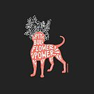 Pit Bull Flower Power (coral, white crown, white letters) by SophieGamand