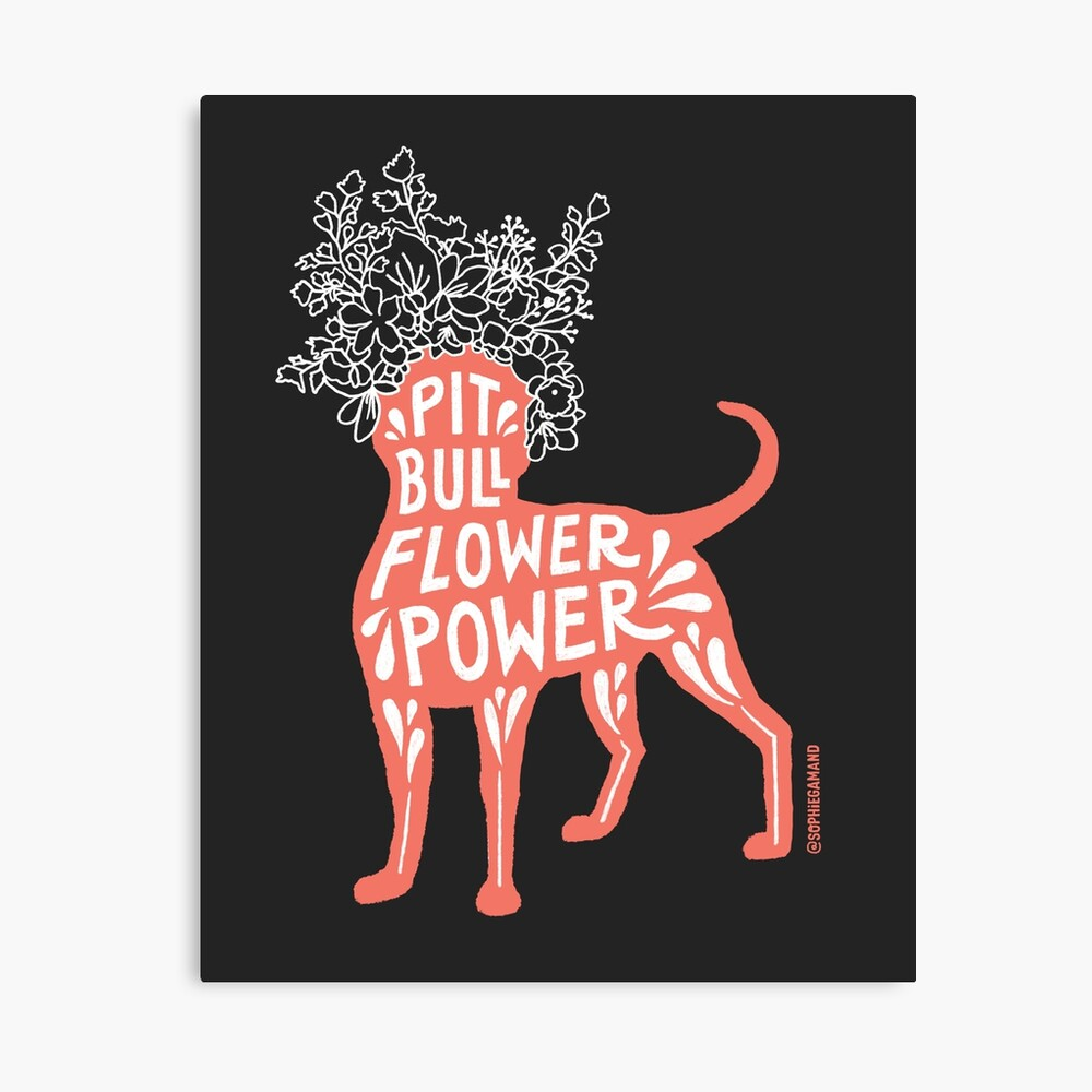 Pit Bull Flower Power (coral, white crown, white letters) Canvas Print