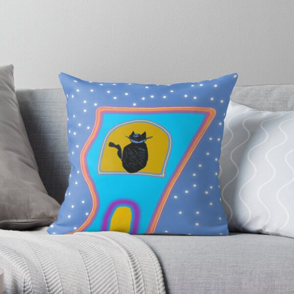 Cat's house under the stars Throw Pillow