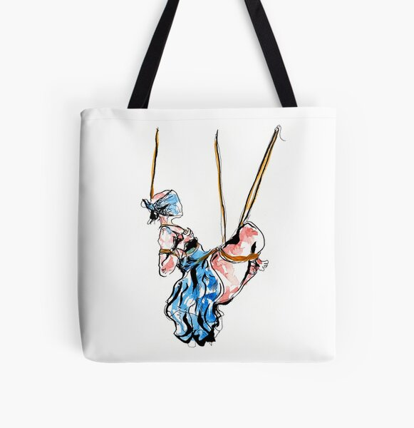 Shibari drawing in blue dress All Over Print Tote Bag