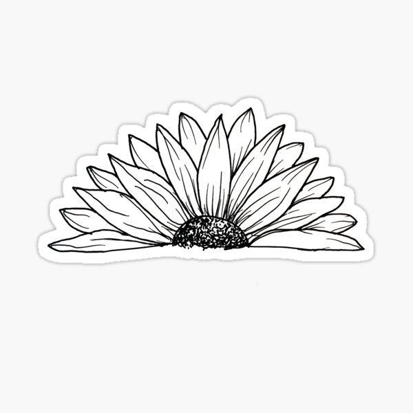 Black and White Daisy Doodle Sticker