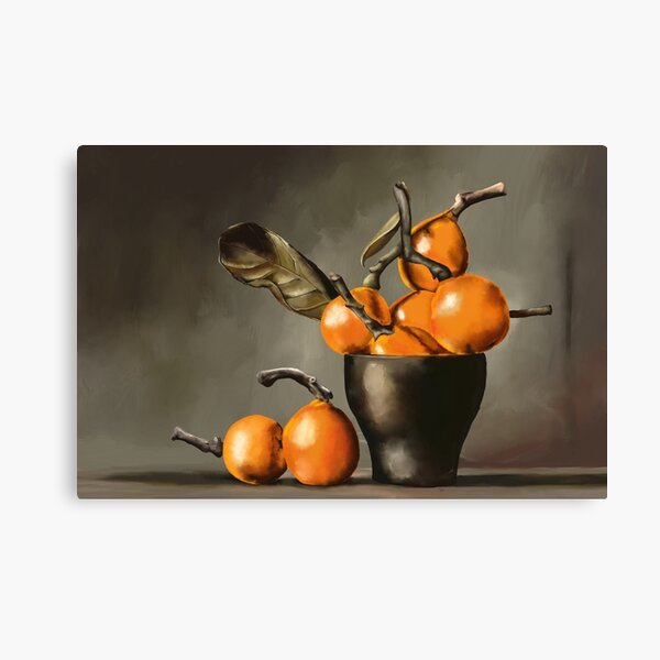 Still Life with Oranges in Earthy Colors Canvas Print