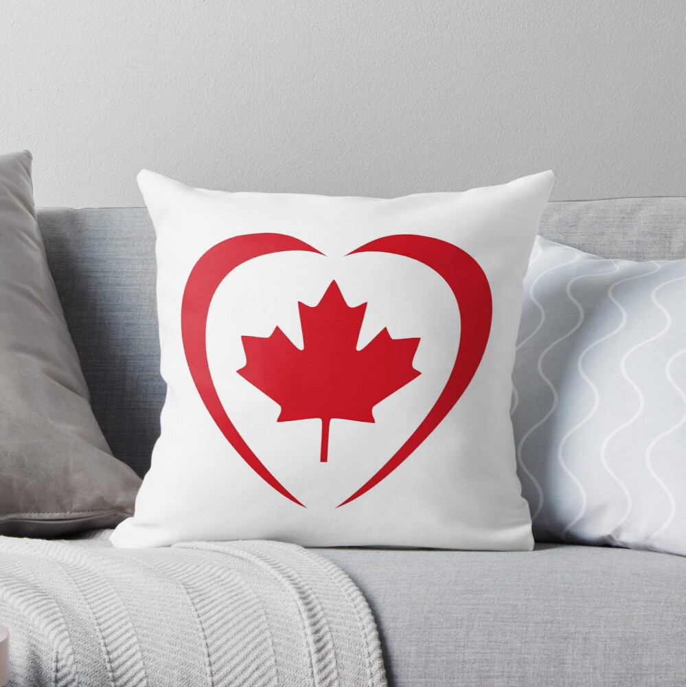 Canadian Patriot Flag Series (Heart) Throw Pillow