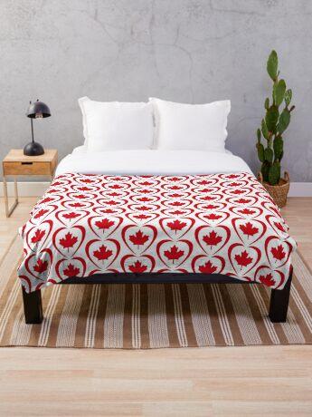 Canadian Patriot Flag Series (Heart) Throw Blanket