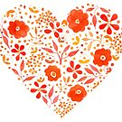 Hearts and Flowers - cute floral art heart by Woodland Doodles
