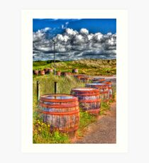 Barrels on side of the road Art Print