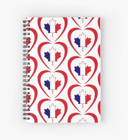French Canadian Multinational Patriot Flag Series (Heart) Spiral Notebook