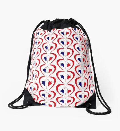 French Canadian Multinational Patriot Flag Series (Heart) Drawstring Bag