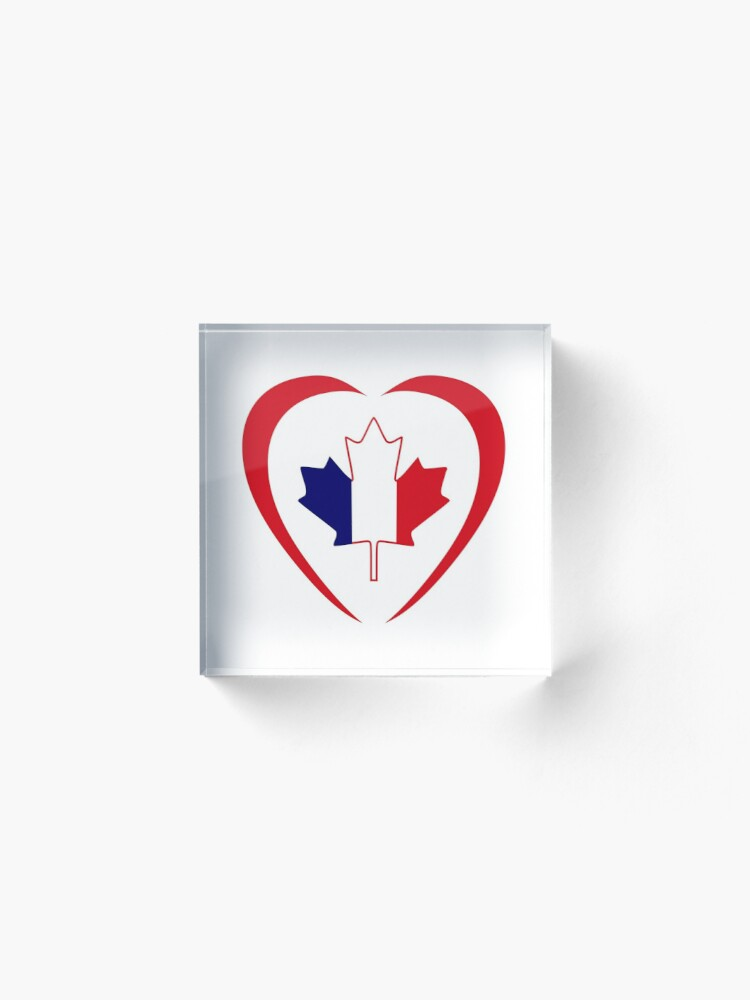 Alternate view of French Canadian Multinational Patriot Flag Series (Heart) Acrylic Block
