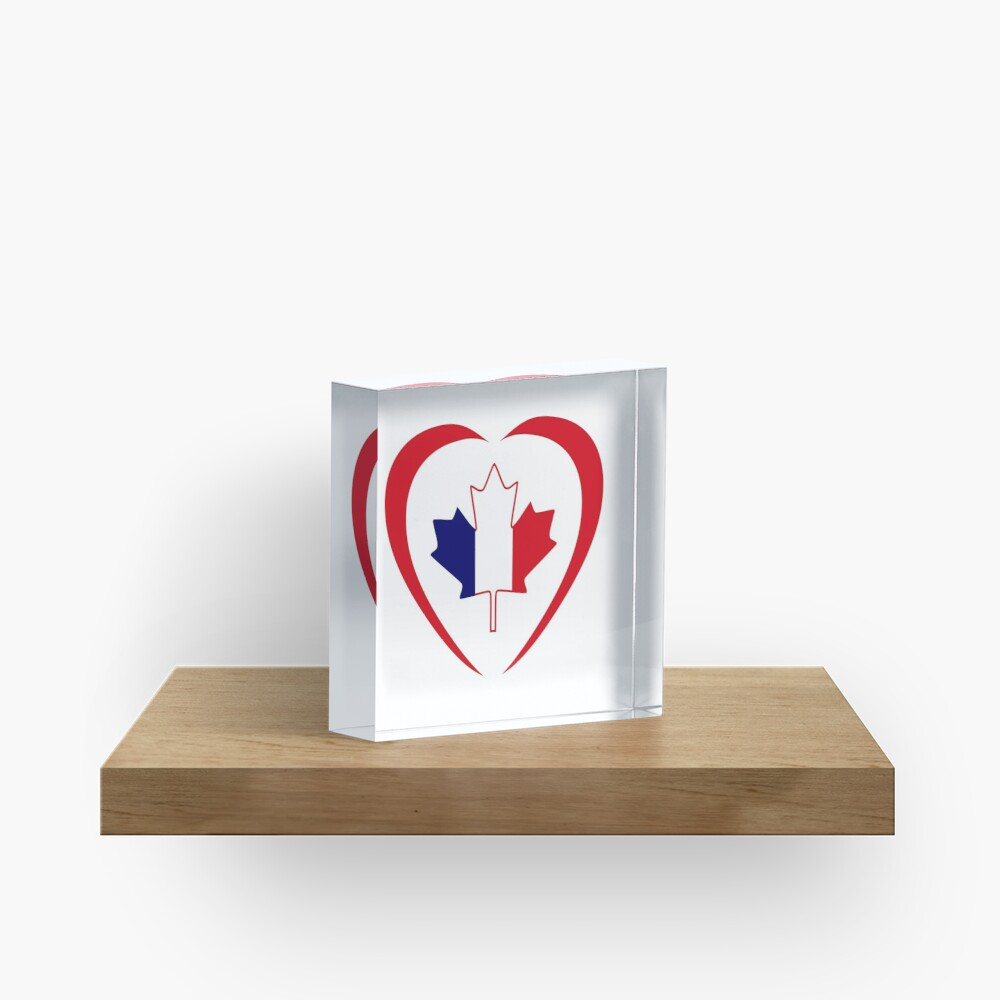 French Canadian Multinational Patriot Flag Series (Heart) Acrylic Block