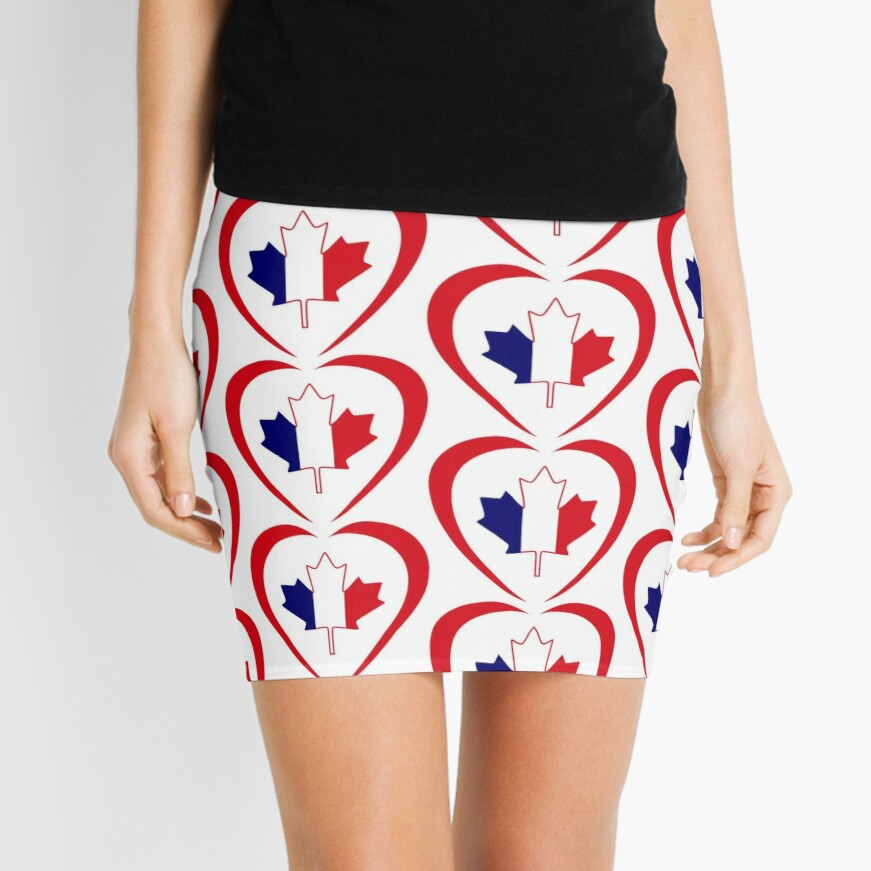 French Canadian Multinational Patriot Flag Series (Heart) Mini Skirt