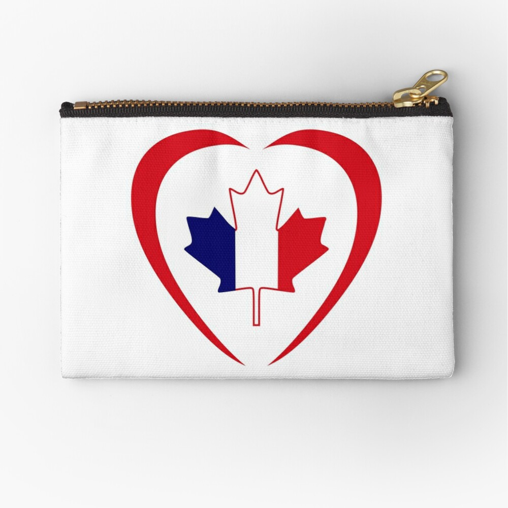 French Canadian Multinational Patriot Flag Series (Heart) Zipper Pouch