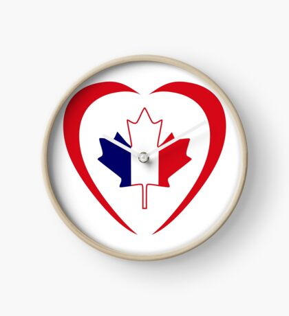 French Canadian Multinational Patriot Flag Series (Heart) Clock