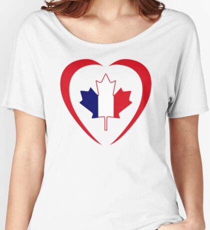French Canadian Multinational Patriot Flag Series (Heart) Relaxed Fit T-Shirt