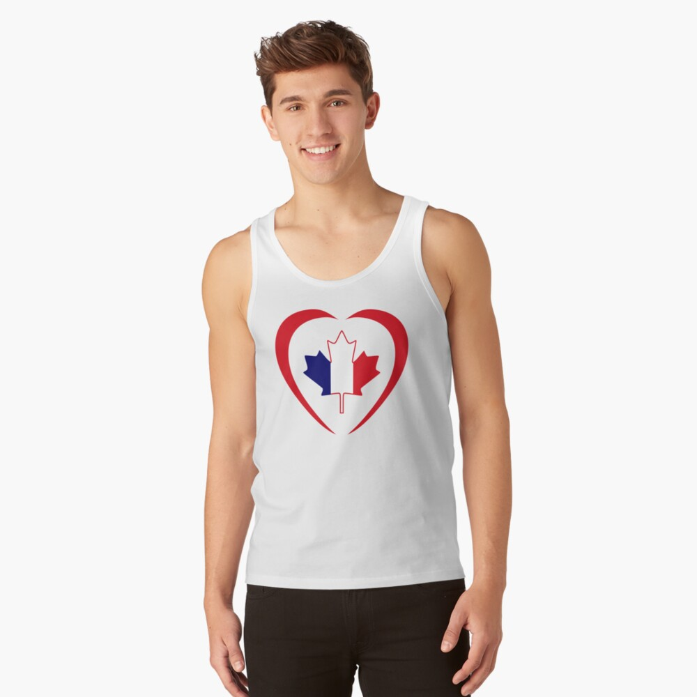 French Canadian Multinational Patriot Flag Series (Heart) Tank Top