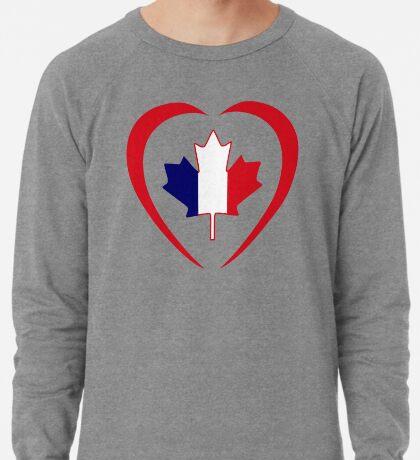 French Canadian Multinational Patriot Flag Series (Heart) Lightweight Sweatshirt