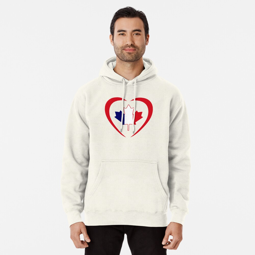 French Canadian Multinational Patriot Flag Series (Heart) Pullover Hoodie