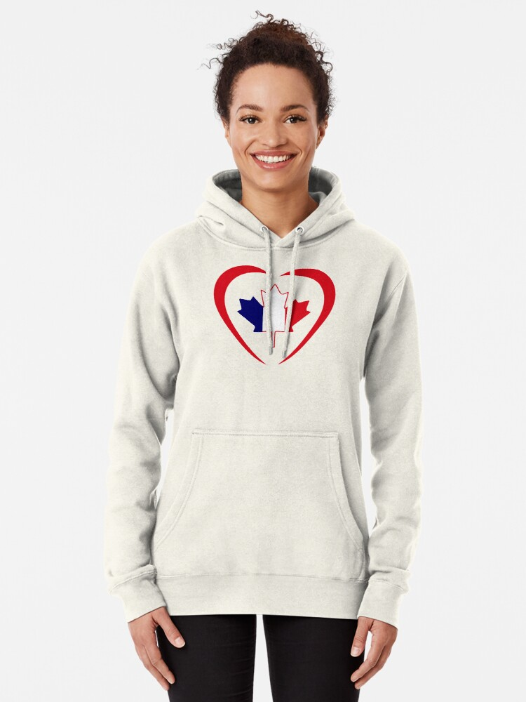 Alternate view of French Canadian Multinational Patriot Flag Series (Heart) Pullover Hoodie