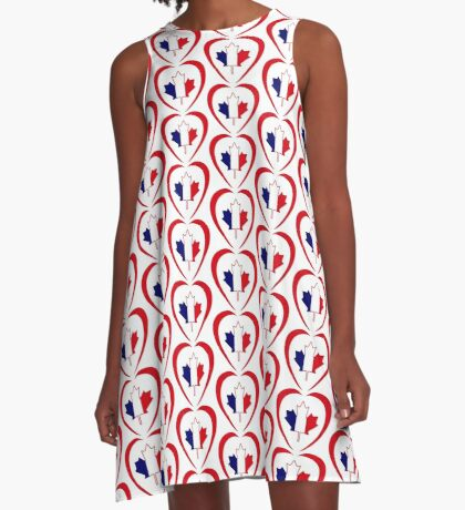 French Canadian Multinational Patriot Flag Series (Heart) A-Line Dress