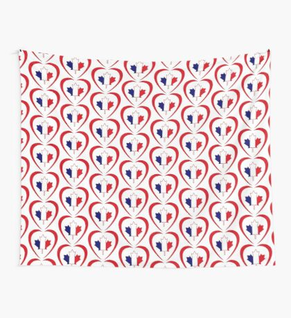 French Canadian Multinational Patriot Flag Series (Heart) Wall Tapestry