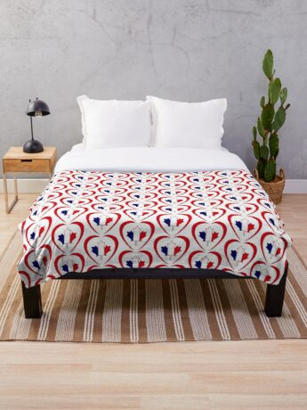French Canadian Multinational Patriot Flag Series (Heart) Throw Blanket