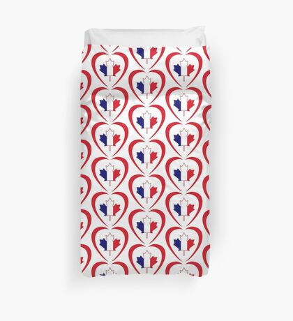 French Canadian Multinational Patriot Flag Series (Heart) Duvet Cover